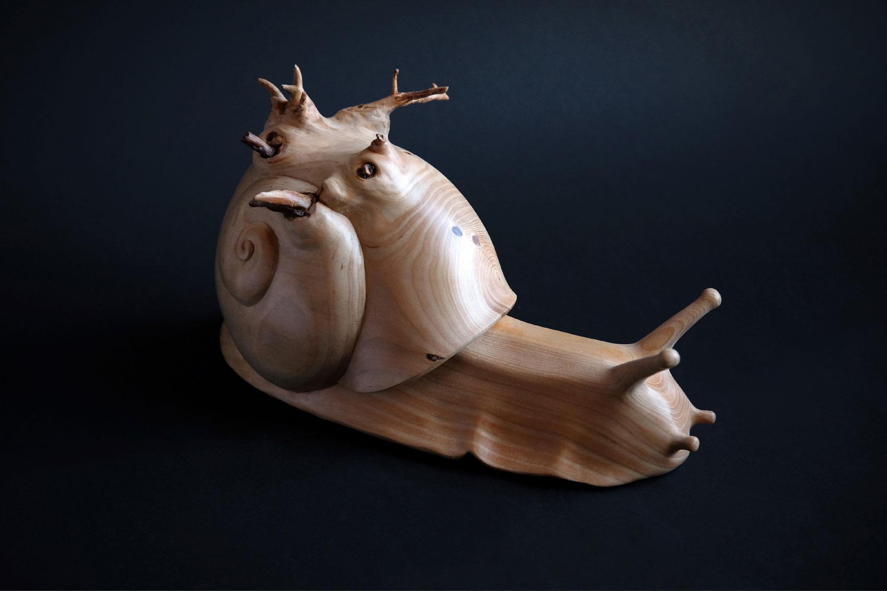 Arcangelo Ambrosi Sculpture Time cedrus deodara wood Italiano Plurale