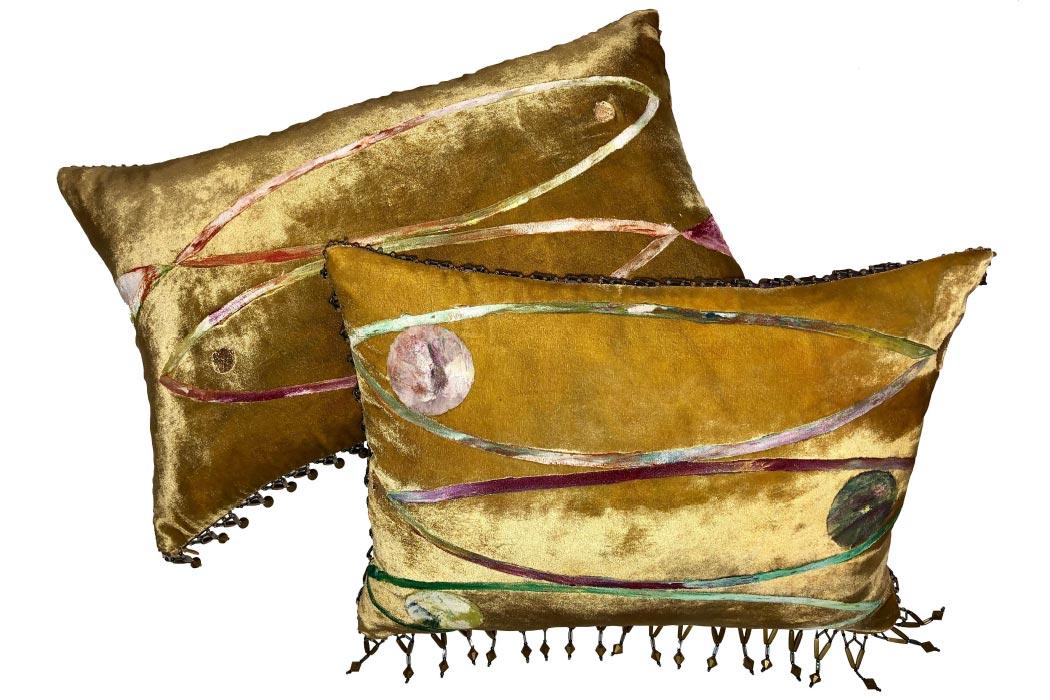 Cushions Fish Cushions Velvet Gold Foil Silk Trimmings of pearls Anna Paola Cibin Italiano Plurale artist