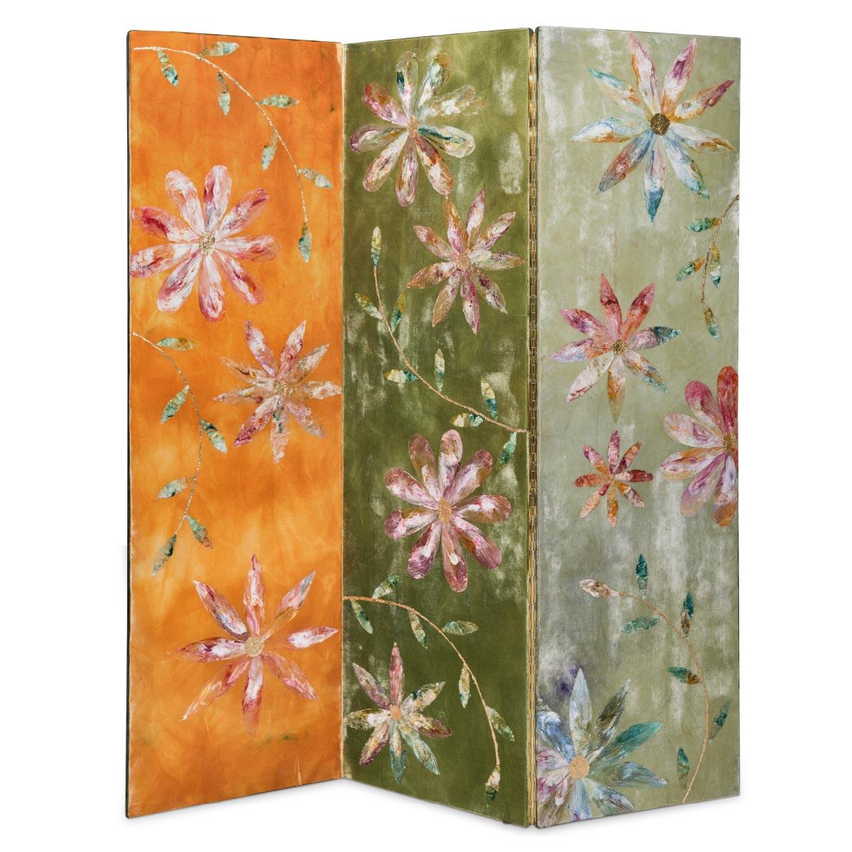 Screen Flower Labyrinth Velvet Gold Foil Silk Wood Anna Paola Cibin Italiano Plurale artist