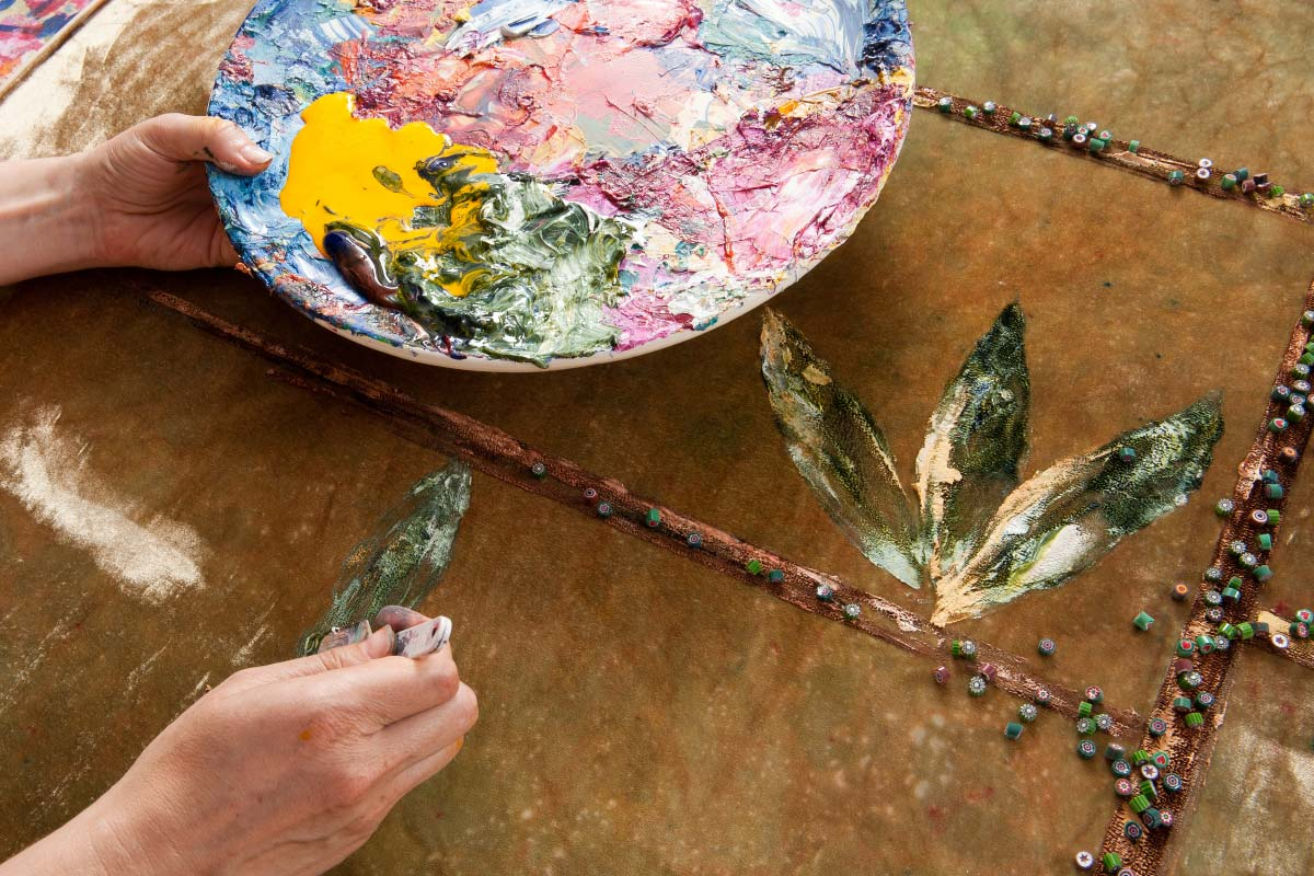 textile art handmade working details Anna Paola Cibin contemporary artist Italiano Plurale