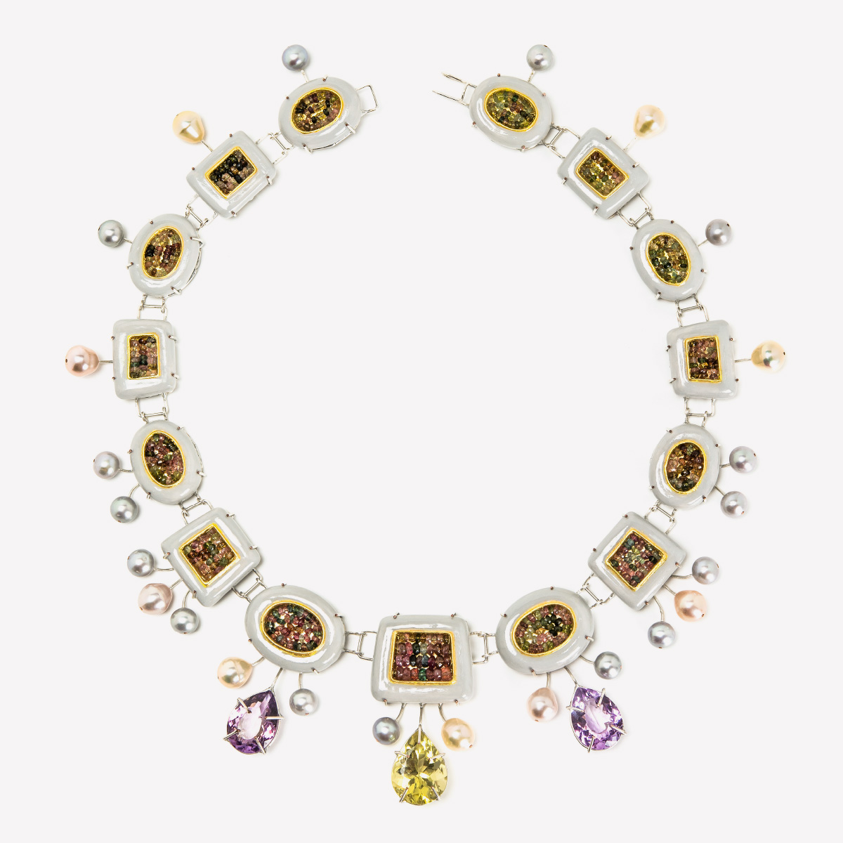 Contemporary Necklace Cinis silver plated copper citrine rose amethysts tourmalines Gian Luca Bartellone