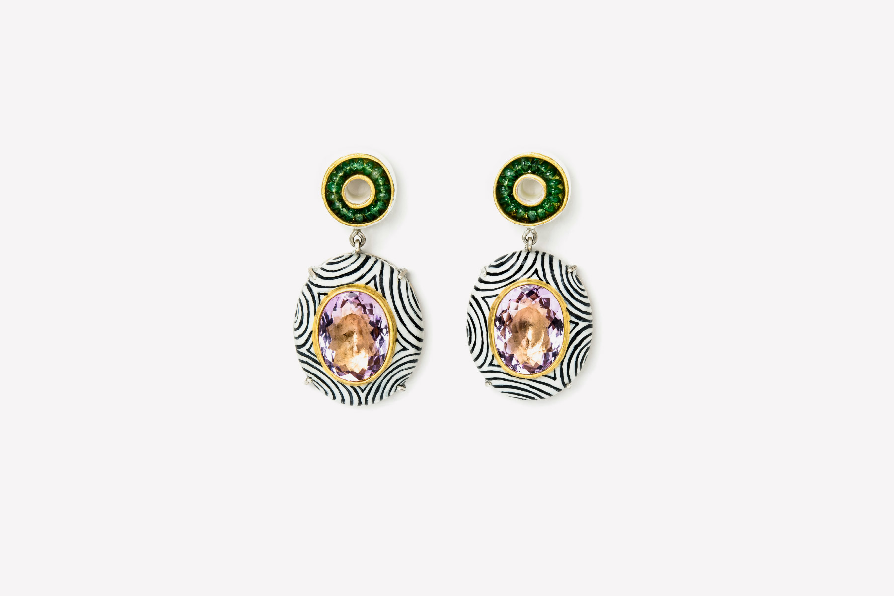 Gian Luca Bartellone one of a kind Earrings Audeo emeralds gold silver Italiano Plurale