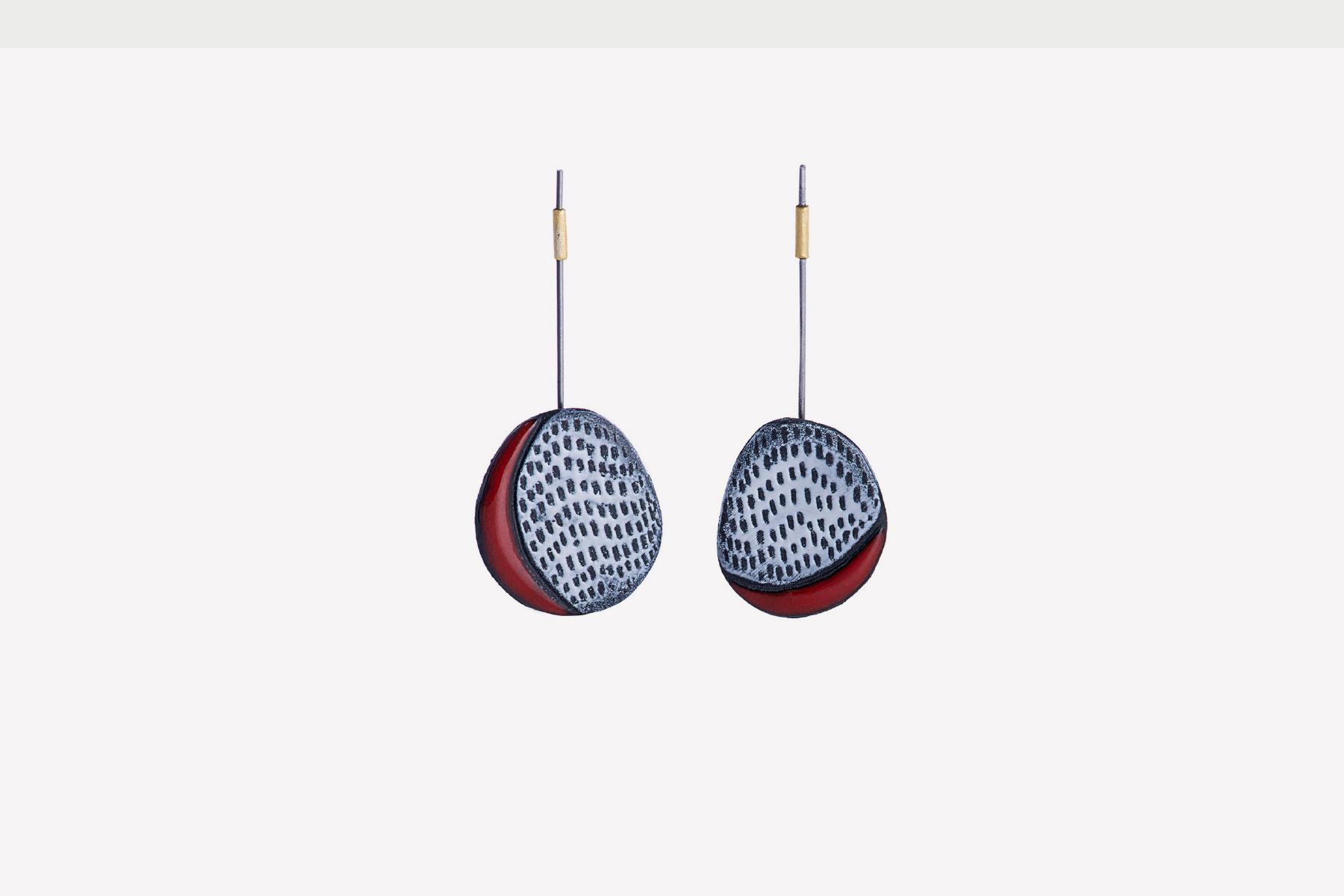 Maria Diana Earrings Dandelion Porcelain glaze steel silver Italiano Plurale