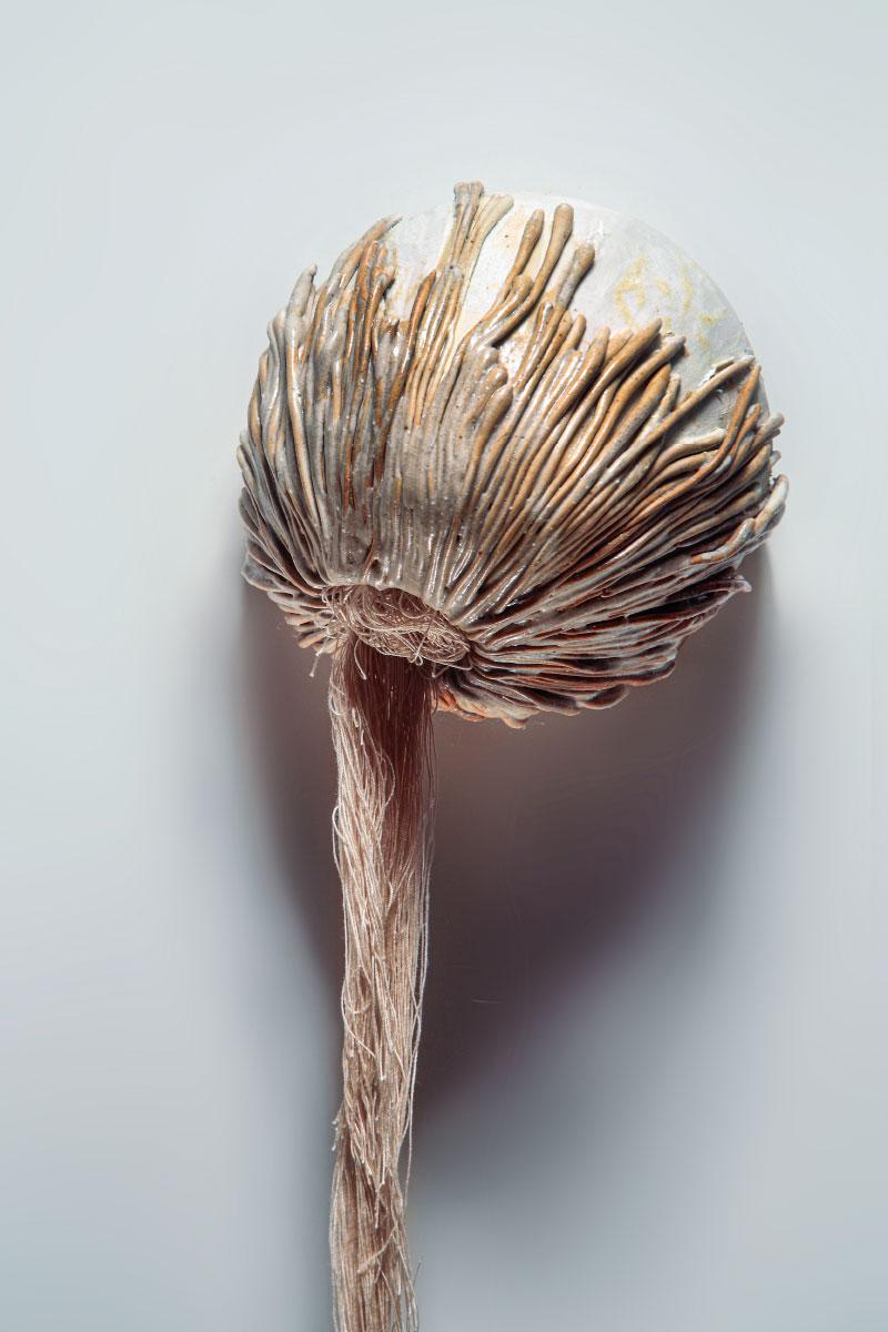 Sculpture Tako Tsubo stoneware glaze thread Angelica Tulimiero