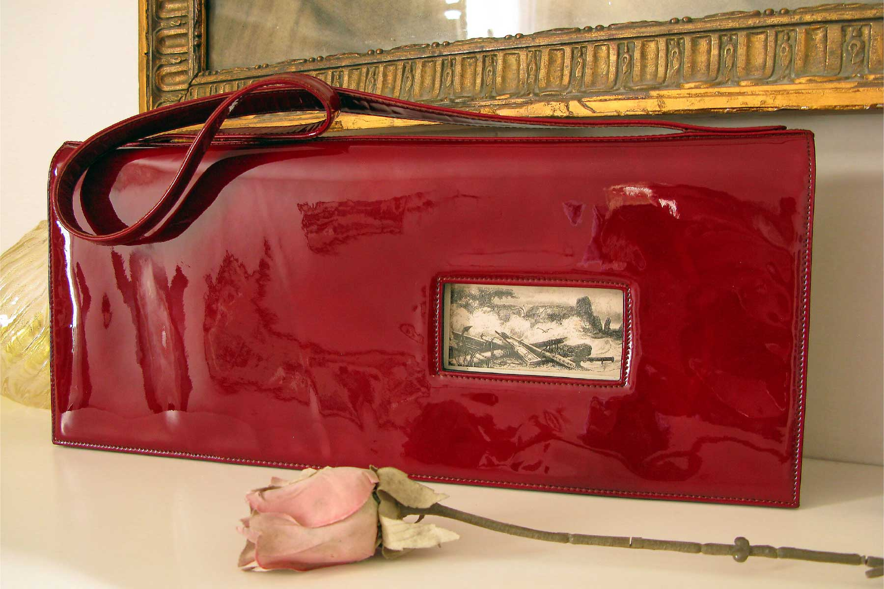 Annalisa Tessarolo Purse Storm patent leather engraving 19th century