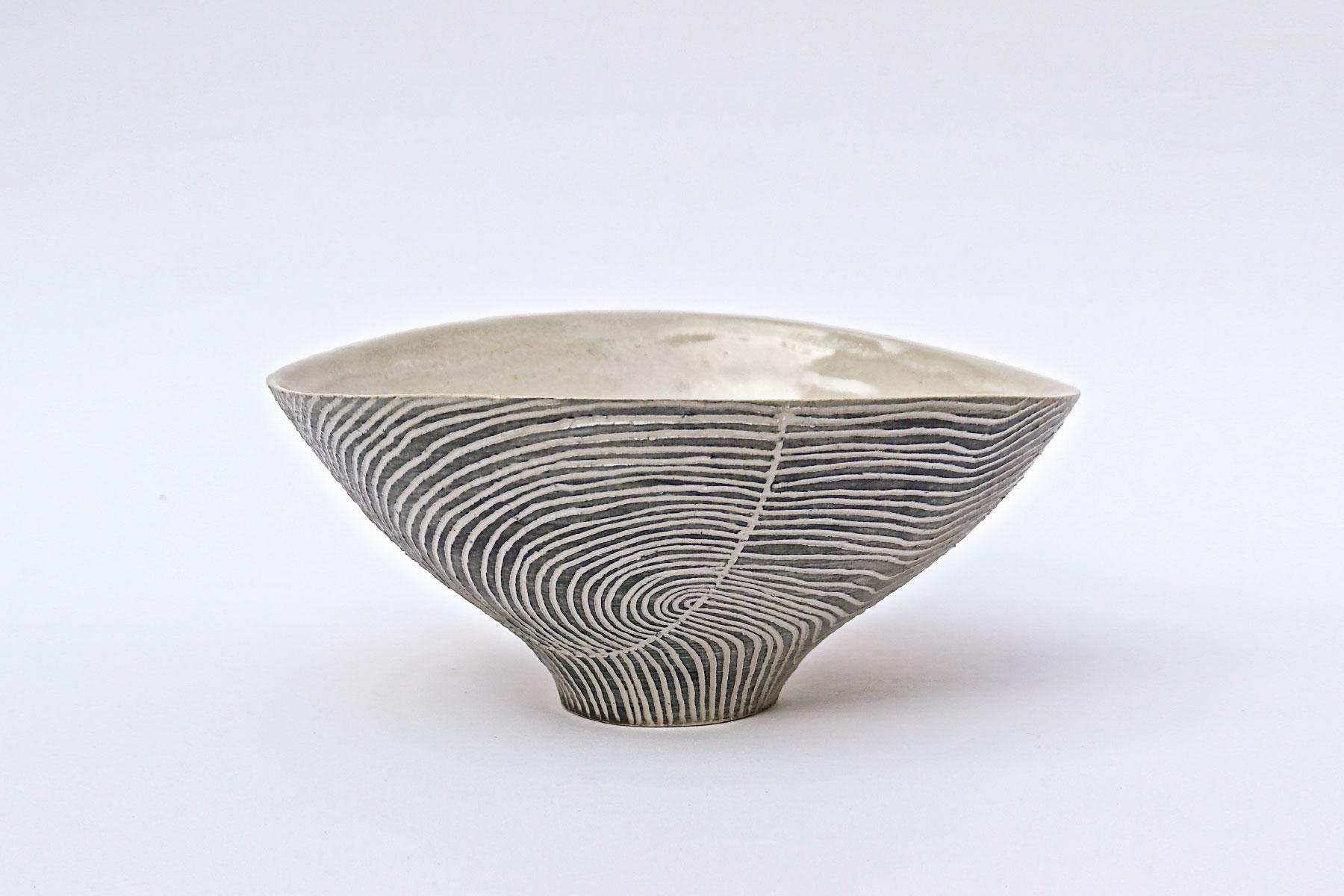 Bowl Contour Lines Bowl White Stoneware 1260 C Sara Federici Italiano Plurale artist