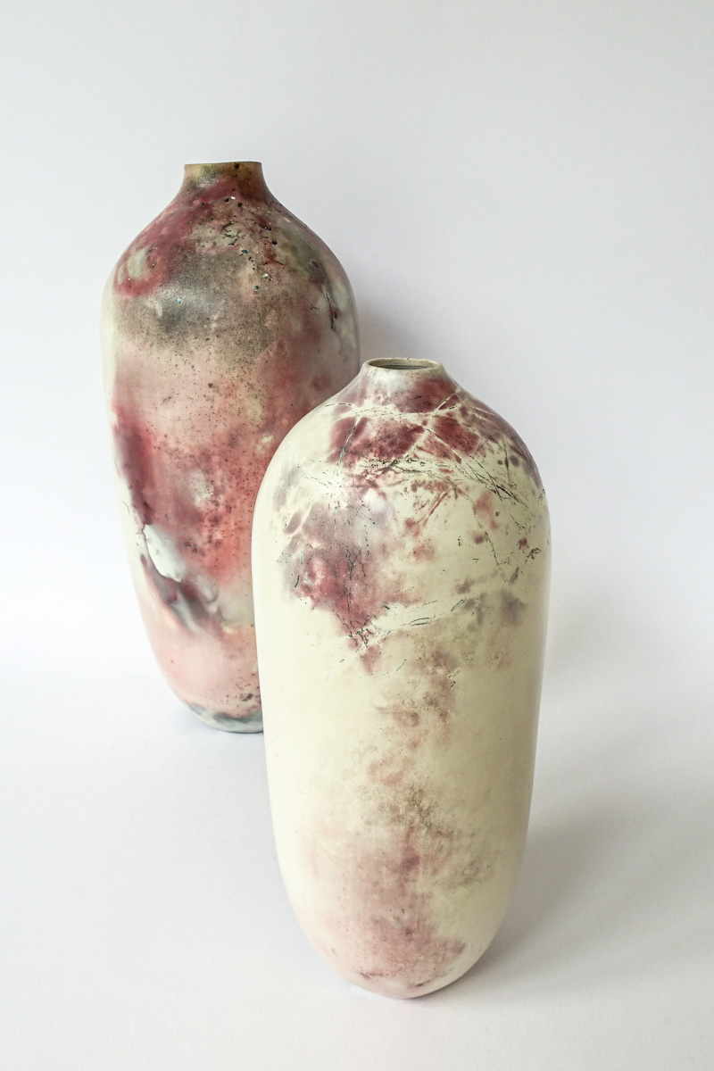Elena Arosio Vessel Wheelthrown stoneware porcelain smoke and pit fired Italiano Plurale