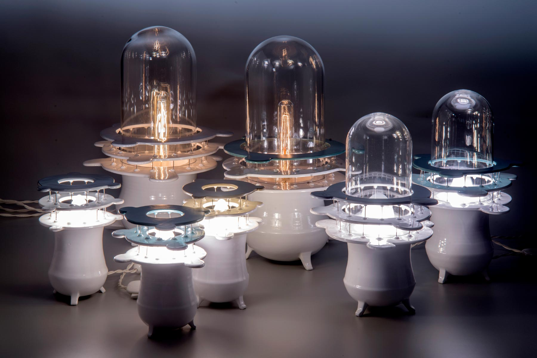 Lidia Marti Light sculpture Satellites light clay steel