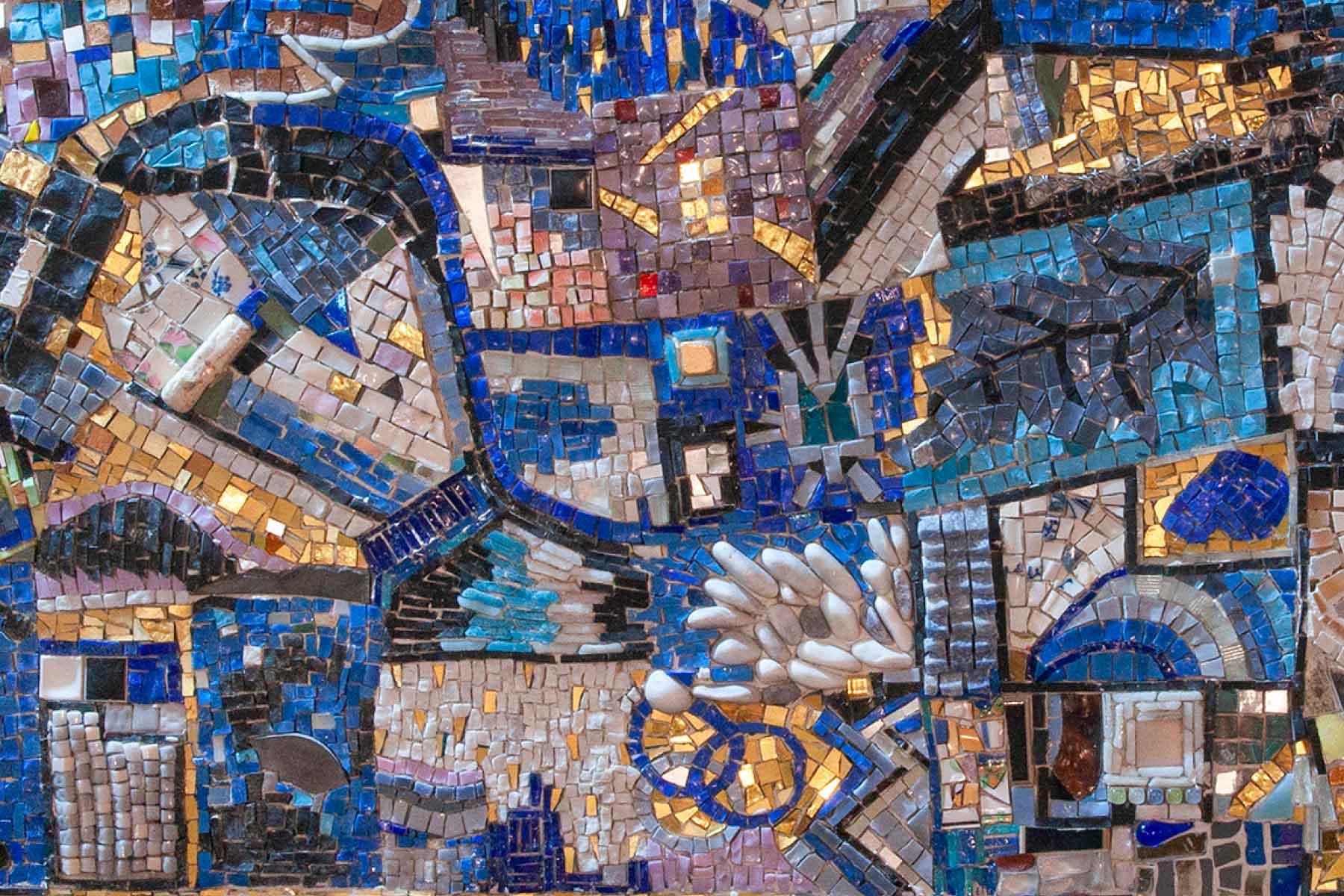 Mosaic Blue Experience glass tiles stones Ursula Corsi