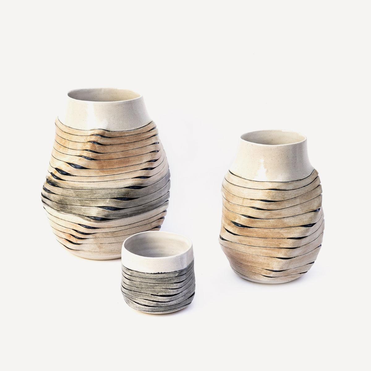 Sara Federici Ribbon Vases White Stoneware 1260 C Wheelthrown altered italiano plurale artist