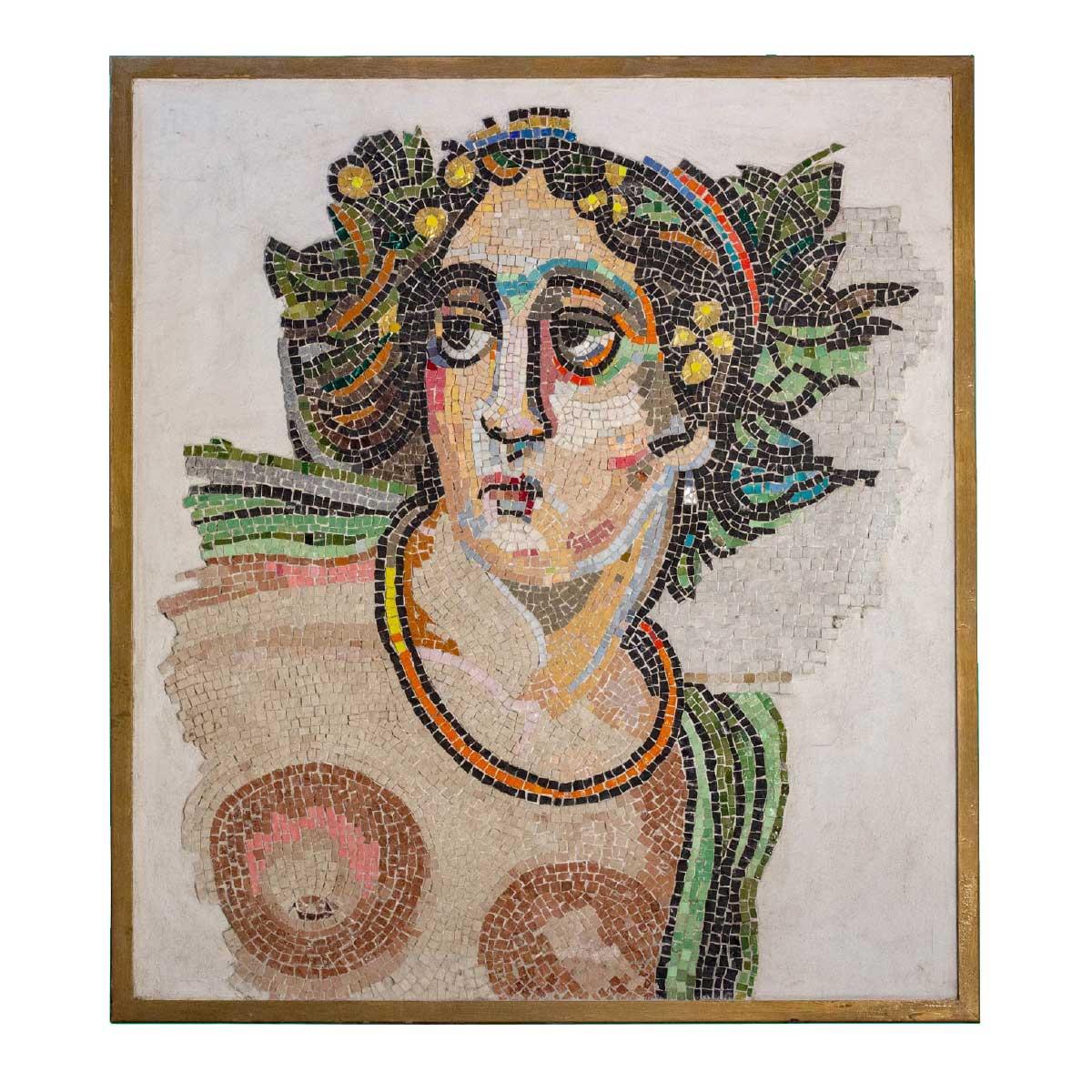 Ursula Corsi Mosaic Roman Pop glasses stones marble wooden frame Italiano Plurale
