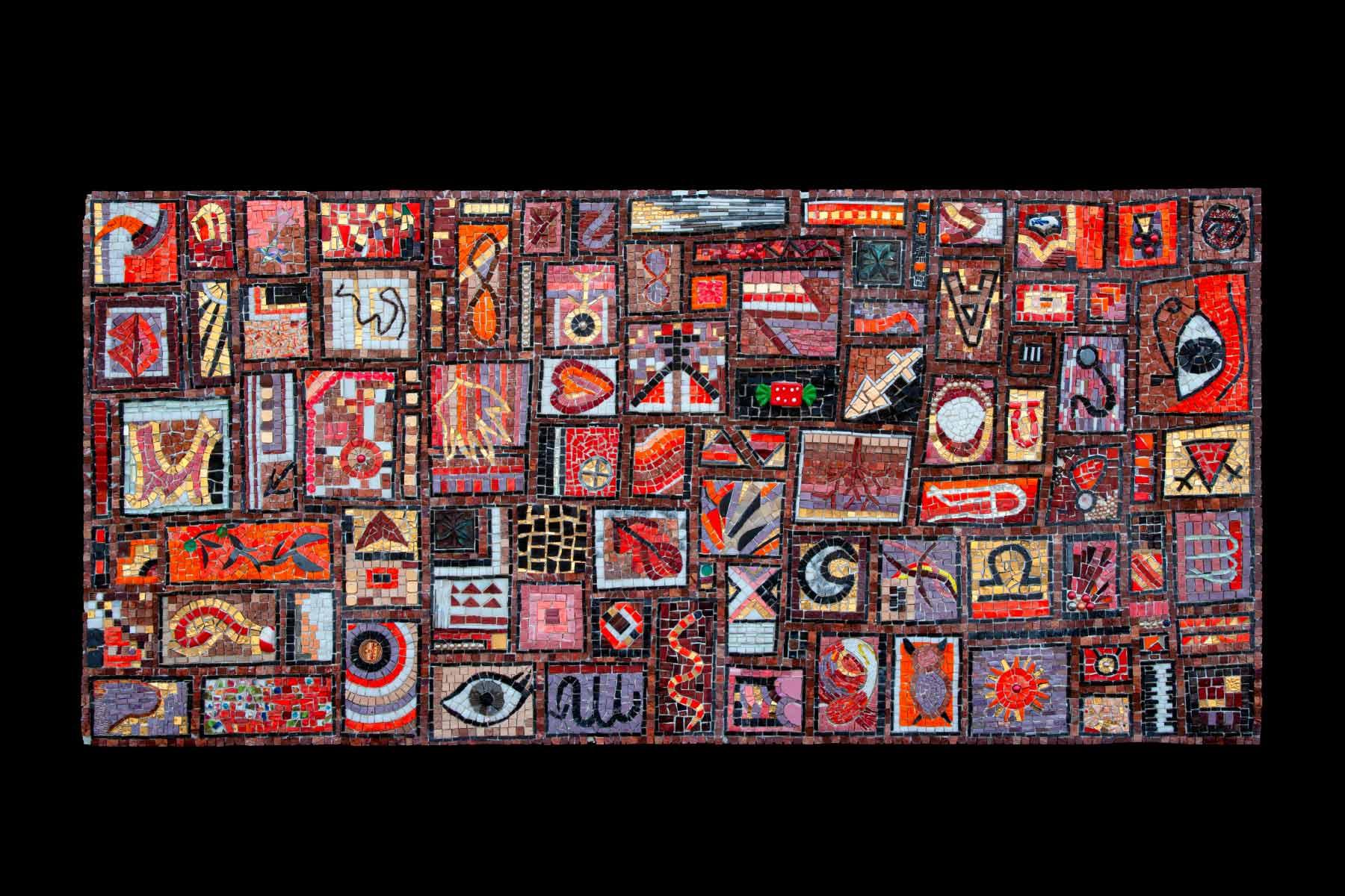 Ursula Corsi Red Autumn glass tiles stones