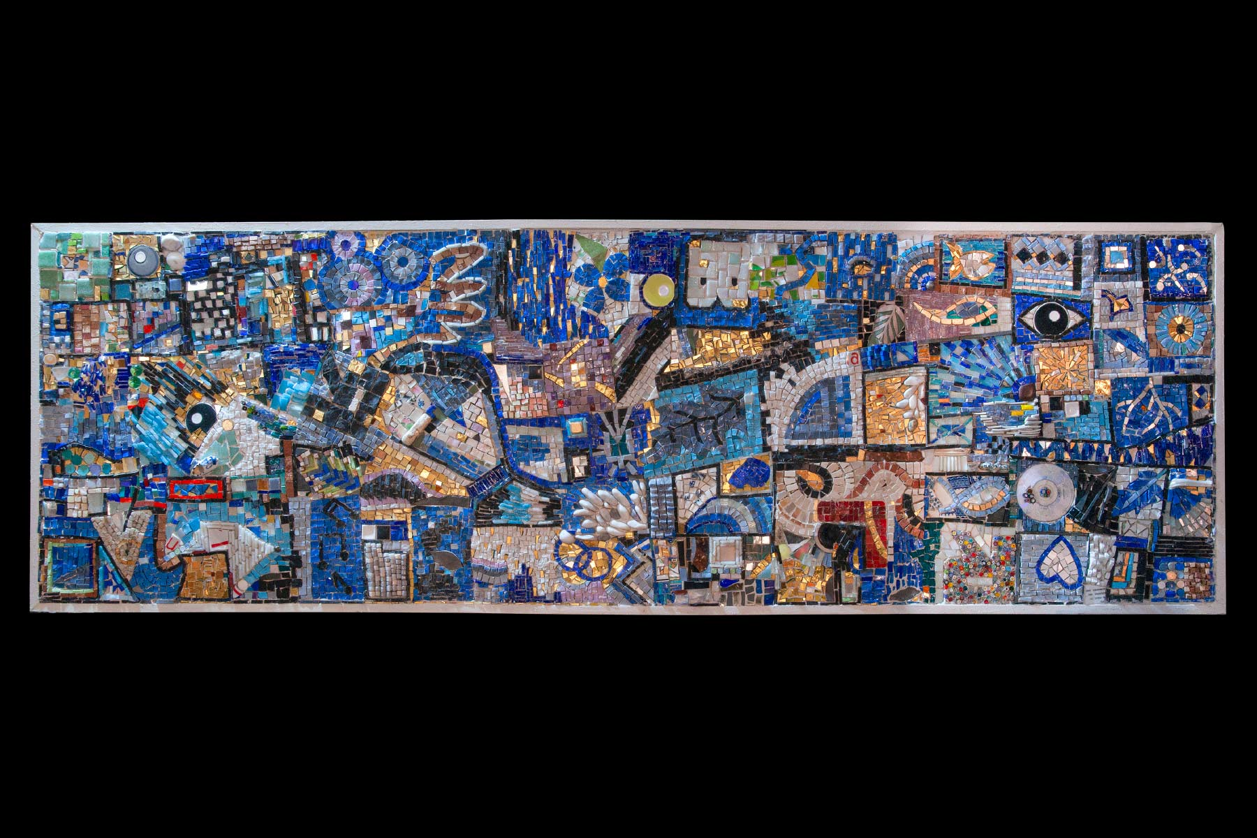 Ursula Corsi mosaic Blue Experience glass tiles stones wooden frame
