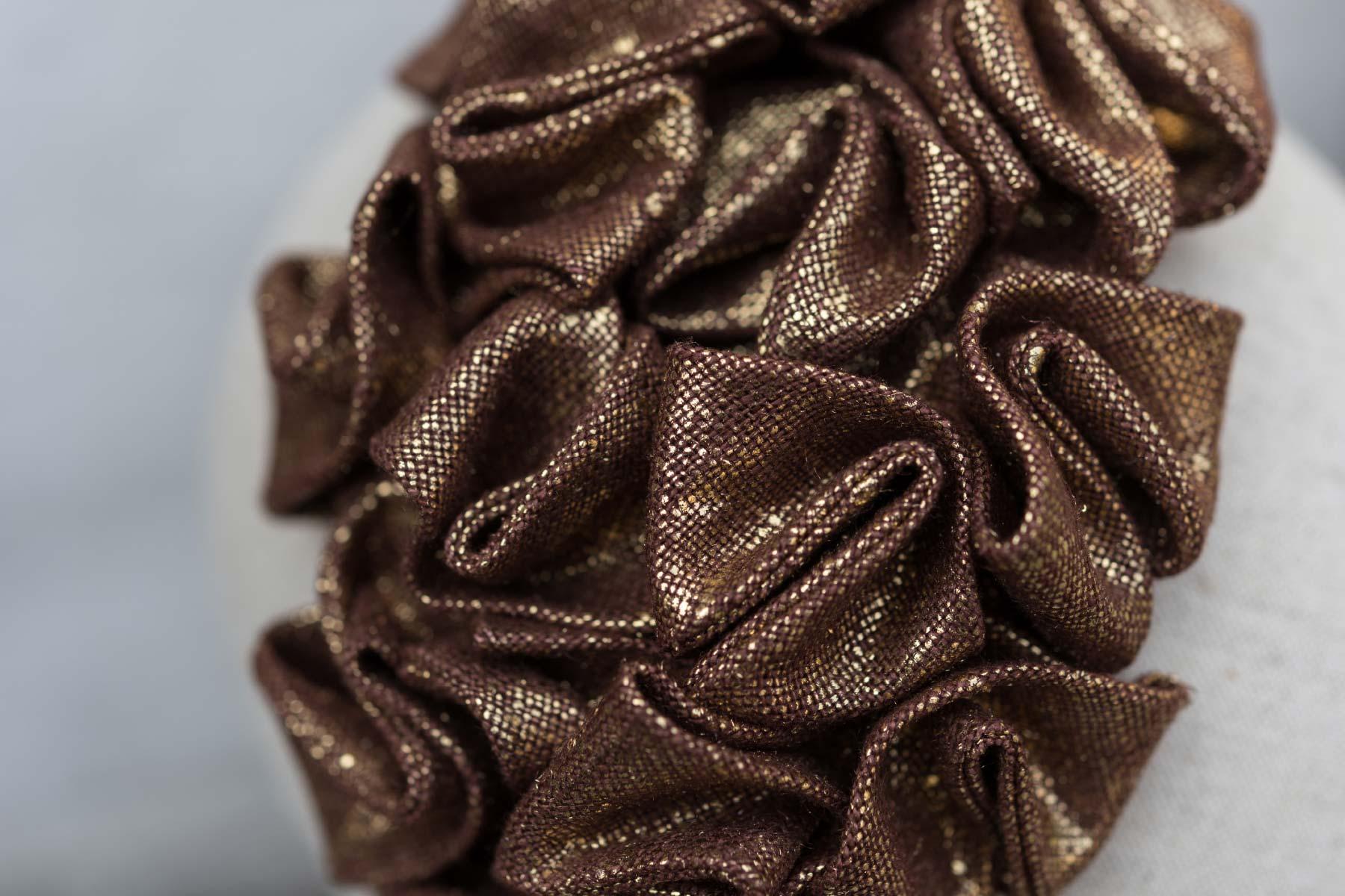 Veronica Innocenzi Acapo Headpiece Cloud coated linen gold italiano plurale