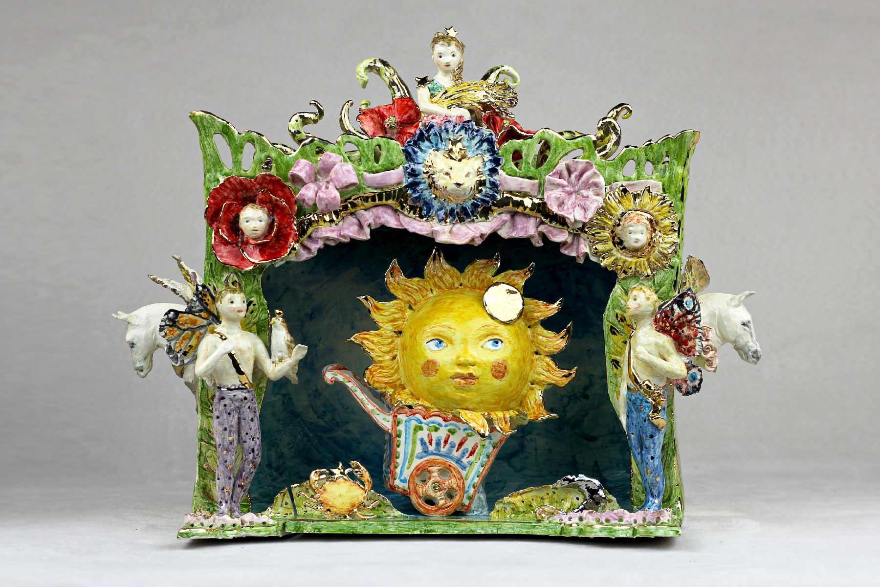 Cecilia Coppola sculpture sun theater stoneware gold Italiano Plurale