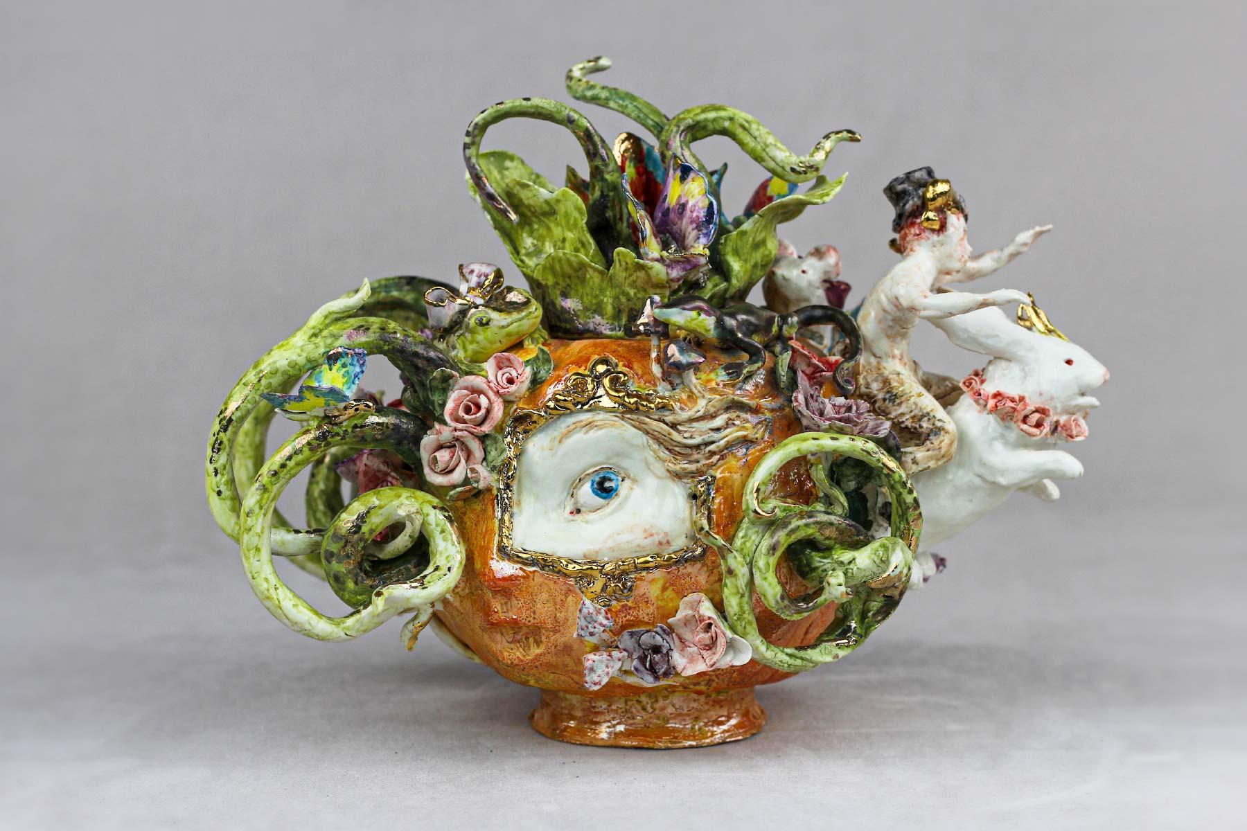 Cecilia Coppola teapot pumpkin porcelain gold Italiano Plurale