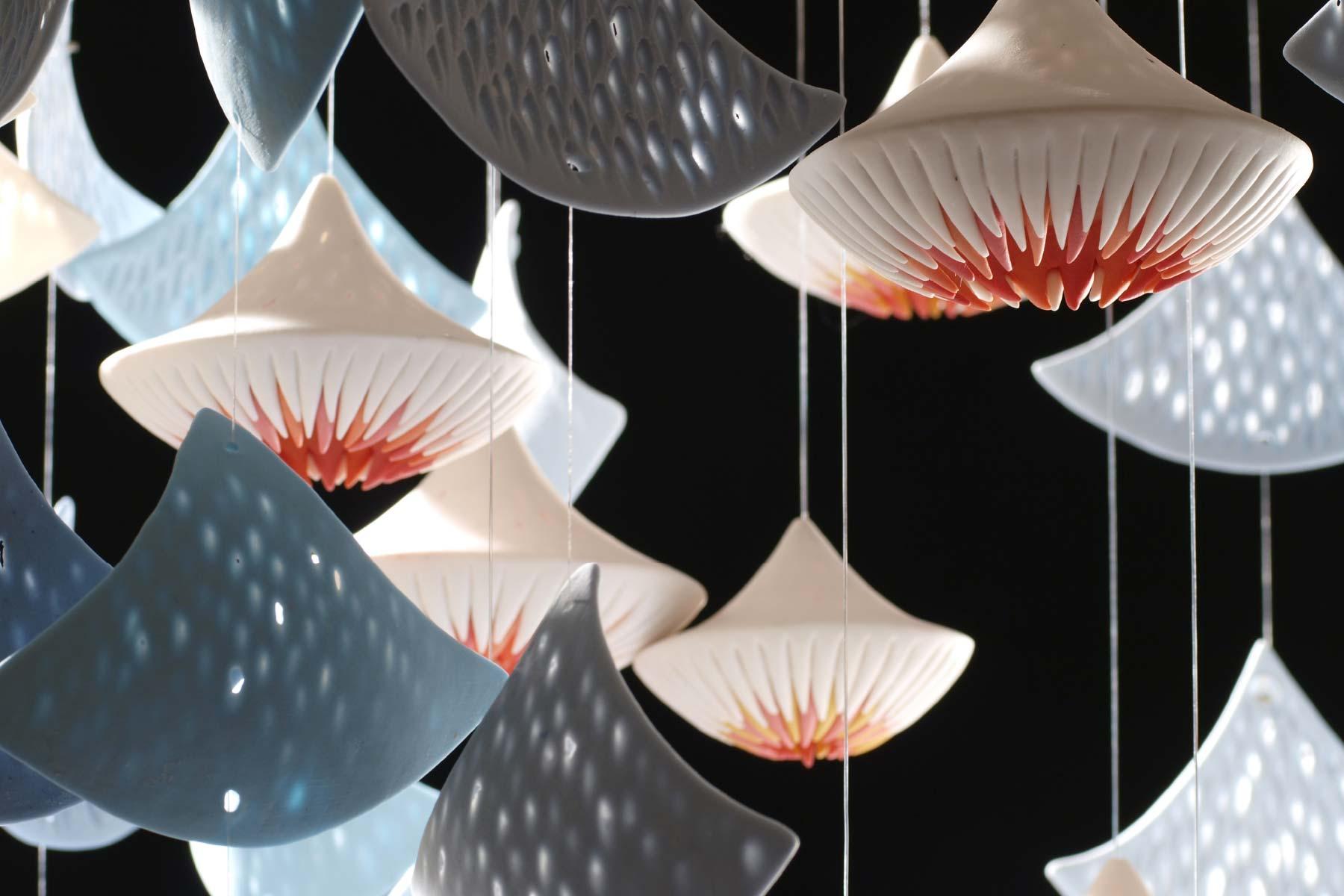 Light installation Medusa Porcelain pigments steel leds Martha Pachon Rodriguez Italiano Plurale artist