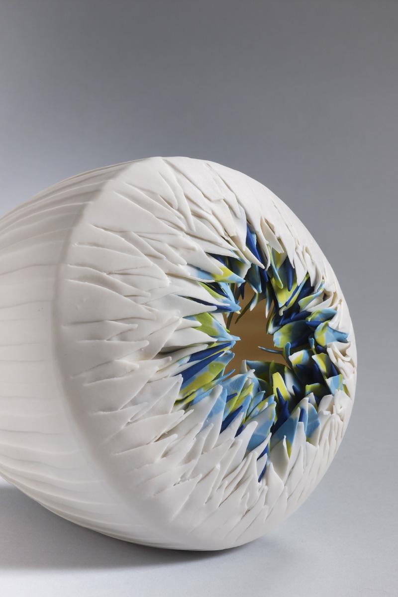Martha Pachon Rodriguez Sculpture sea urchin series porcelain pigments