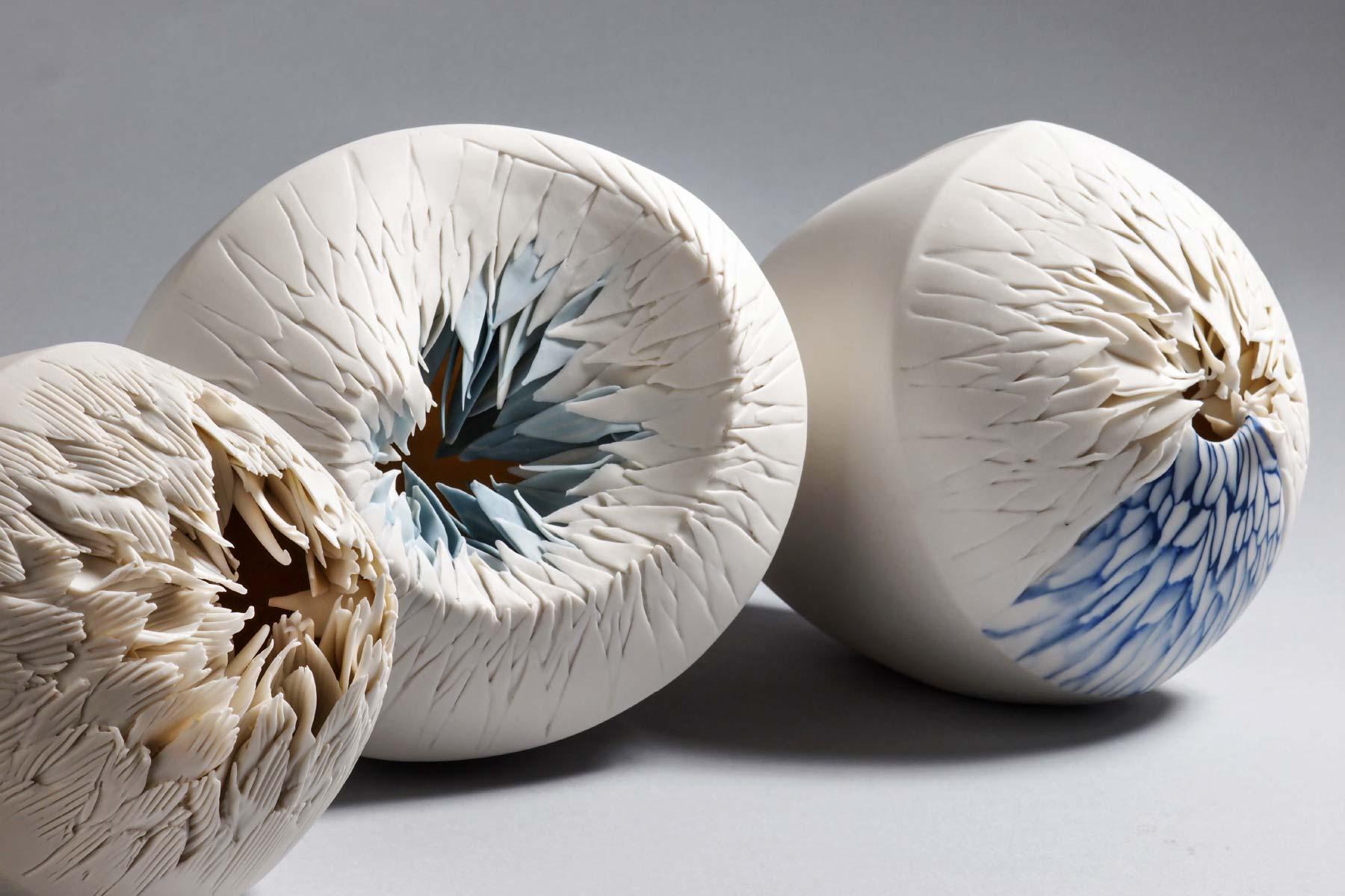 Sculptures Sea Flowers series porcelain pigments Martha Pachon Rodriguez