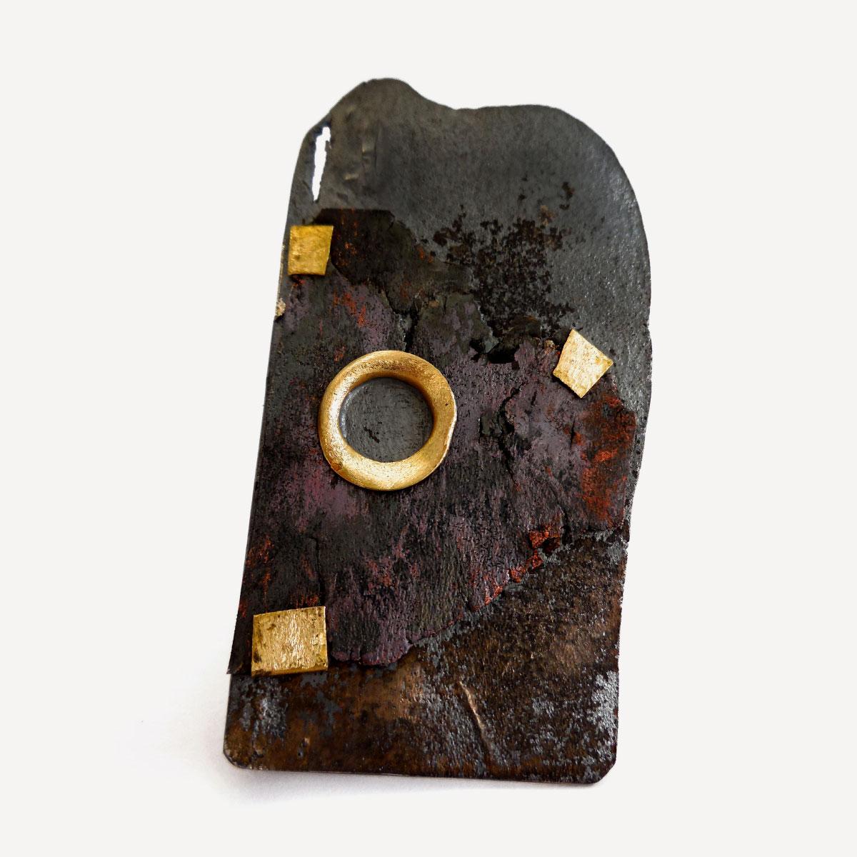 Giorgio Chiarcos brooch citta gold silver iron