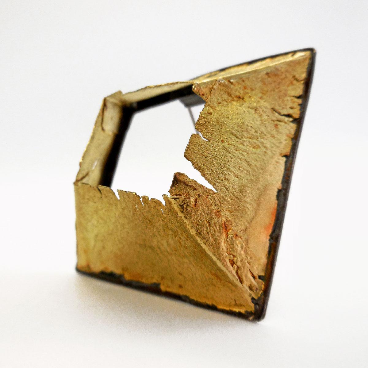 Giorgio Chiarcos brooch mura gold 18kt silver 925 with patina Italiano Plurale